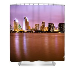 Downtown San Diego Skyline At Night Shower Curtain by Paul Velgos