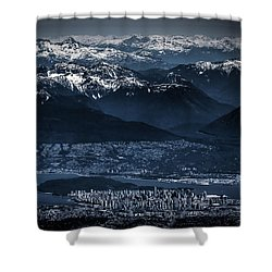 Downtown Vancouver And The Mountains Aerial View Low Key Shower Curtain