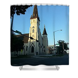 Shower Curtain featuring the photograph Downtown Worship by Caryl J Bohn