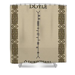 Shower Curtain featuring the digital art Doyle Written In Ogham by Ireland Calling