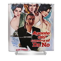 Dr No - Spanish Shower Curtain by Georgia Fowler