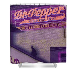 Dr Pepper Blues Shower Curtain by Tony Rubino