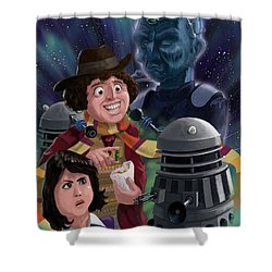 Dr Who 4th Doctor Jelly Baby Shower Curtain by Martin Davey