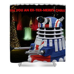 Dr Who - Dalek Christmas Shower Curtain by Richard Reeve