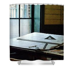 Drafting - Triangle Ruler And Compass Shower Curtain by Susan Savad