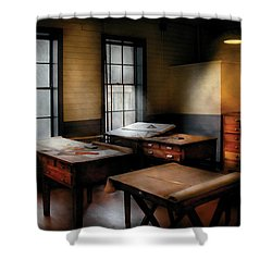 Draftsman - The Drafting Room Shower Curtain by Mike Savad