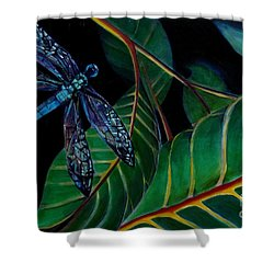 Dragon Fly Soaring - Botanical Shower Curtain by Grace Liberator