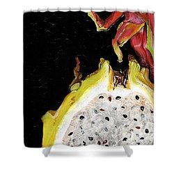 Shower Curtain featuring the painting dragon fruit yellow and red Elena Yakubovich by Elena Yakubovich
