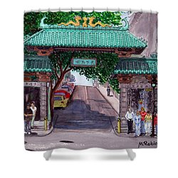 Dragon Gate Shower Curtain by Mike Robles