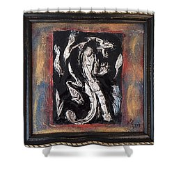 Dragon Lion Repousse And Chasing By Alfredo Garcia Art - Original Mixed Media Modern Abstract Painti Shower Curtain