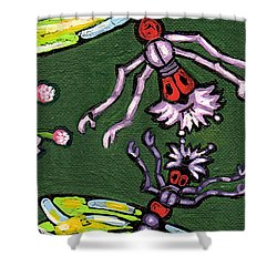 Dragonflies And Water Lilies Shower Curtain by Genevieve Esson