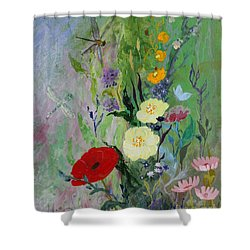 Dragonflies Dancing Shower Curtain by Robin Maria Pedrero