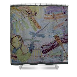 Shower Curtain featuring the painting Dragonflies In Winter by Avonelle Kelsey