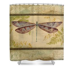 Dragonfly Among The Ferns-3 Shower Curtain by Jean Plout