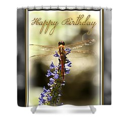 Dragonfly Birthday Card Shower Curtain