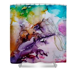 Dragonfly Cosmos Shower Curtain