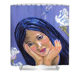 Shower Curtain featuring the painting Dragonfly Dreamer by Jane Small