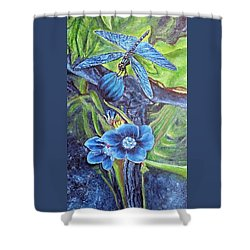 Shower Curtain featuring the painting Dragonfly Hunt For Food In The Flowerhead by Kimberlee Baxter