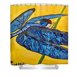 Dragonfly In Blue Shower Curtain by Lisa Brandel