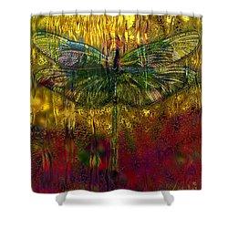 Dragonfly - Rainy Day  Shower Curtain by Jack Zulli