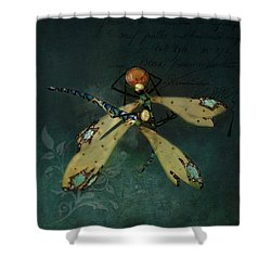 Dragonfly Romance Shower Curtain