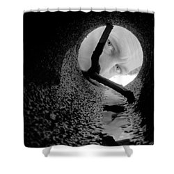 Drain Pipe - Artist Self Portrait Shower Curtain by Gary Heller