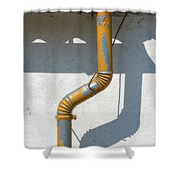 Drainpipe White Structured Wall  Shower Curtain