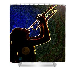 Drak Drawing Silhouette Trumpet Music Instrument And Girl 3016.0 Shower Curtain