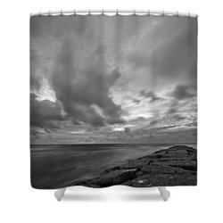 Shower Curtain featuring the photograph Dramatic Skies Over Galveston Jetty by Todd Aaron