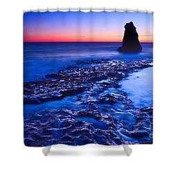 Dramatic Sunset View Of A Sea Stack In Davenport Beach Santa Cruz. Shower Curtain by Jamie Pham