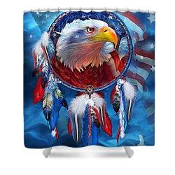 Dream Catcher - Eagle Red White Blue Shower Curtain