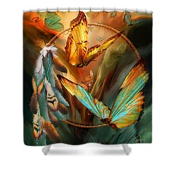 Dream Catcher - Spirit Of The Butterfly Shower Curtain by Carol Cavalaris
