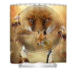 Shower Curtain featuring the painting Dream Catcher- Spirit Of The Red Fox by Carol Cavalaris