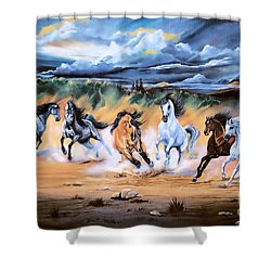Dream Horse Series 125 - Flat Bottom River Wild Horse Herd Shower Curtain