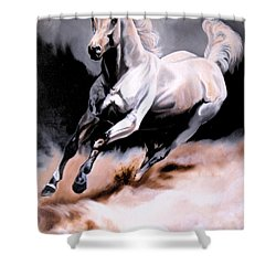 Dream Horse Series 20 - White Lighting Shower Curtain