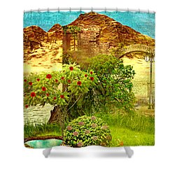 Dream Land Shower Curtain by Ally  White