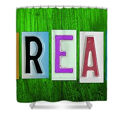 Dream License Plate Letter Vintage Phrase Artwork On Green Shower Curtain by Design Turnpike