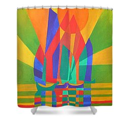 Shower Curtain featuring the painting Dreamboat by Tracey Harrington-Simpson