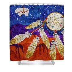 Dreamcatcher Over The Mesas Shower Curtain by Ellen Levinson