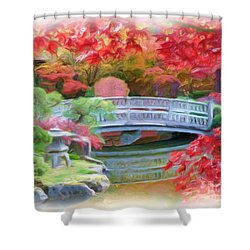 Dreaming Of Fall Bridge In Manito Park Shower Curtain by Carol Groenen