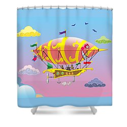 Rainbow Steampunk Dreamship Shower Curtain