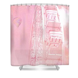 Dreamy Baby Pink Ferris Wheel Carnival Art With Hot Air Balloons Shower Curtain