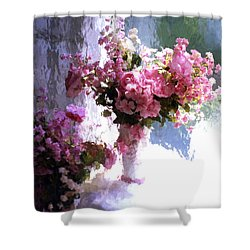 Dreamy Cottage Chic Impressionistic Flowers - Pink Roses Pink Vases Shower Curtain