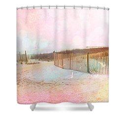 Dreamy Cottage Summer Beach Ocean Coastal Art Shower Curtain by Kathy Fornal
