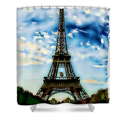 Shower Curtain featuring the photograph Dreamy Eiffel Tower by Kathy Churchman