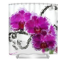Shower Curtain featuring the digital art Dreamy Orchids by Anthony Fishburne