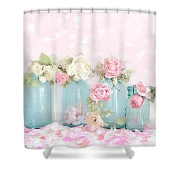 Dreamy Shabby Chic Pink White Roses  - Vintage Aqua Teal Ball Jars Romantic Floral Roses  Shower Curtain