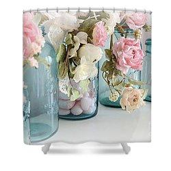 Shabby Chic Roses Blue Aqua Ball Mason Jars - Roses In Aqua Blue Mason Jars - Shabby Chic Decor Shower Curtain