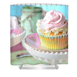 Dreamy Shabby Chic Cupcake Vintage Romantic Food And Floral Photography - Pink Teal Aqua Blue  Shower Curtain by Kathy Fornal