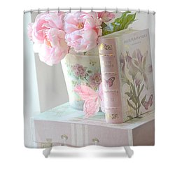 Dreamy Shabby Chic Pink Peonies And Books - Romantic Cottage Peonies Floral Art With Pink Books Shower Curtain by Kathy Fornal